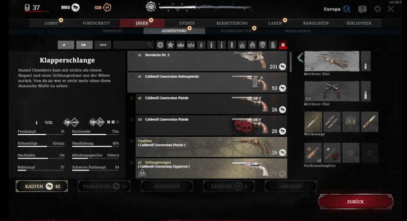 Ausrüstungsslots in Hunt: Showdown
